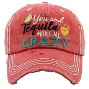 You & Tequila Make Me Crazy Pink Distressed Hat